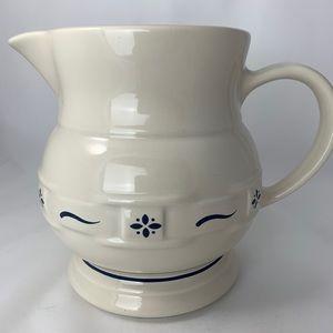 Longaberger Large Milk Pitcher Pottery 2 Qts EUC
